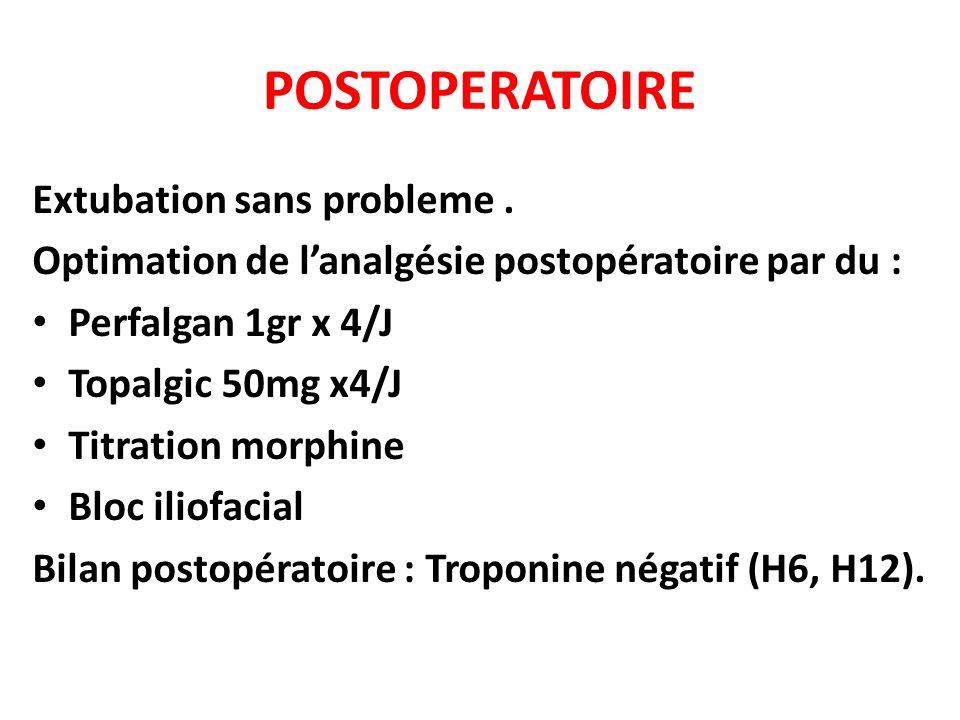 POSTOPERATOIRE Extubation sans probleme. Optimation de lanalgésie postopératoire par du : Perfalgan 1gr x 4/J Topalgic 50mg x4/J Titration morphine Bl