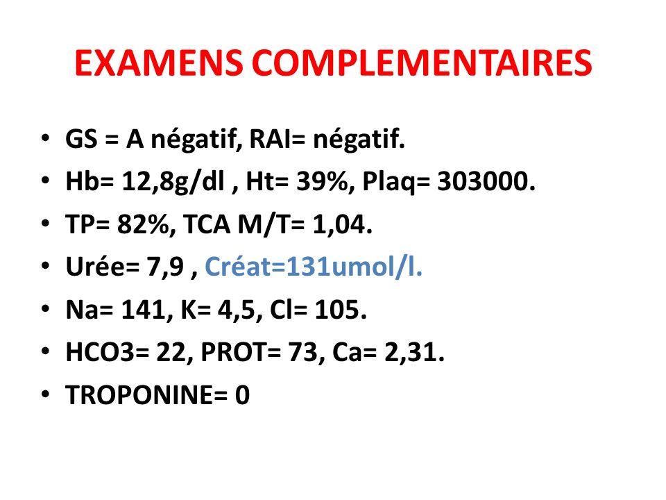EXAMENS COMPLEMENTAIRES GS = A négatif, RAI= négatif. Hb= 12,8g/dl, Ht= 39%, Plaq= 303000. TP= 82%, TCA M/T= 1,04. Urée= 7,9, Créat=131umol/l. Na= 141