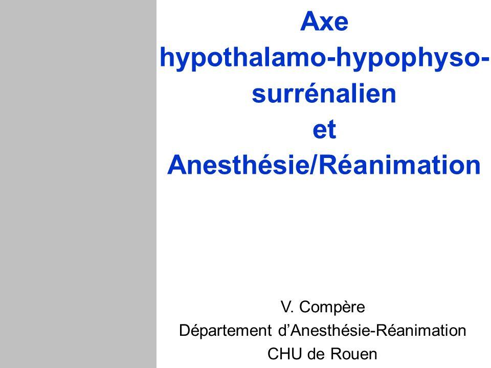 Axe hypothalamo-hypophyso- surrénalien et Anesthésie/Réanimation V. Compère Département dAnesthésie-Réanimation CHU de Rouen