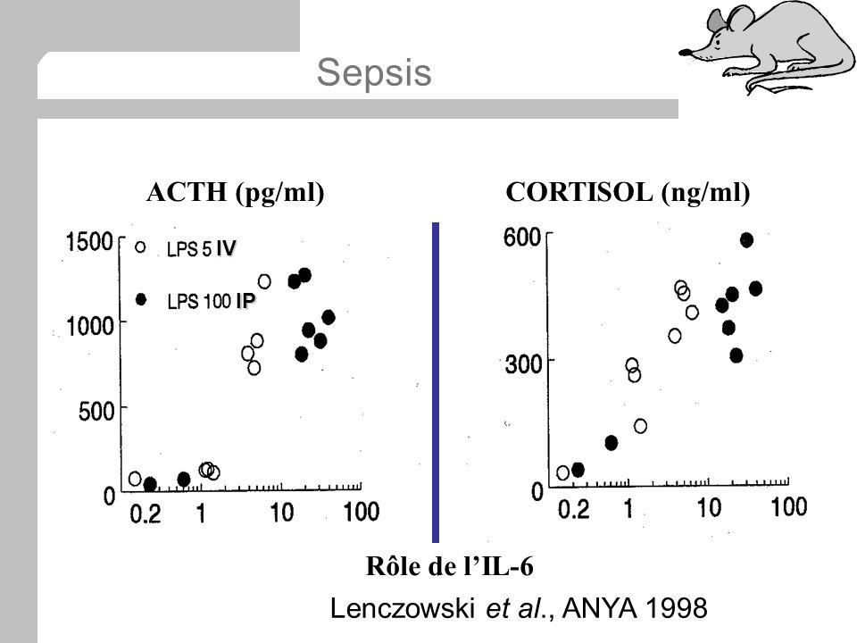 Lenczowski et al., ANYA 1998 Rôle de lIL-6 ACTH (pg/ml)CORTISOL (ng/ml)IV IP