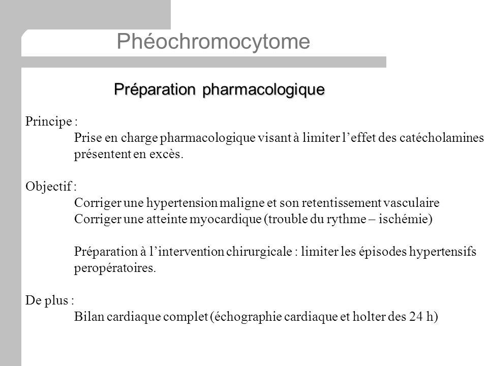 Principe : Prise en charge pharmacologique visant à limiter leffet des catécholamines présentent en excès. Objectif : Corriger une hypertension malign