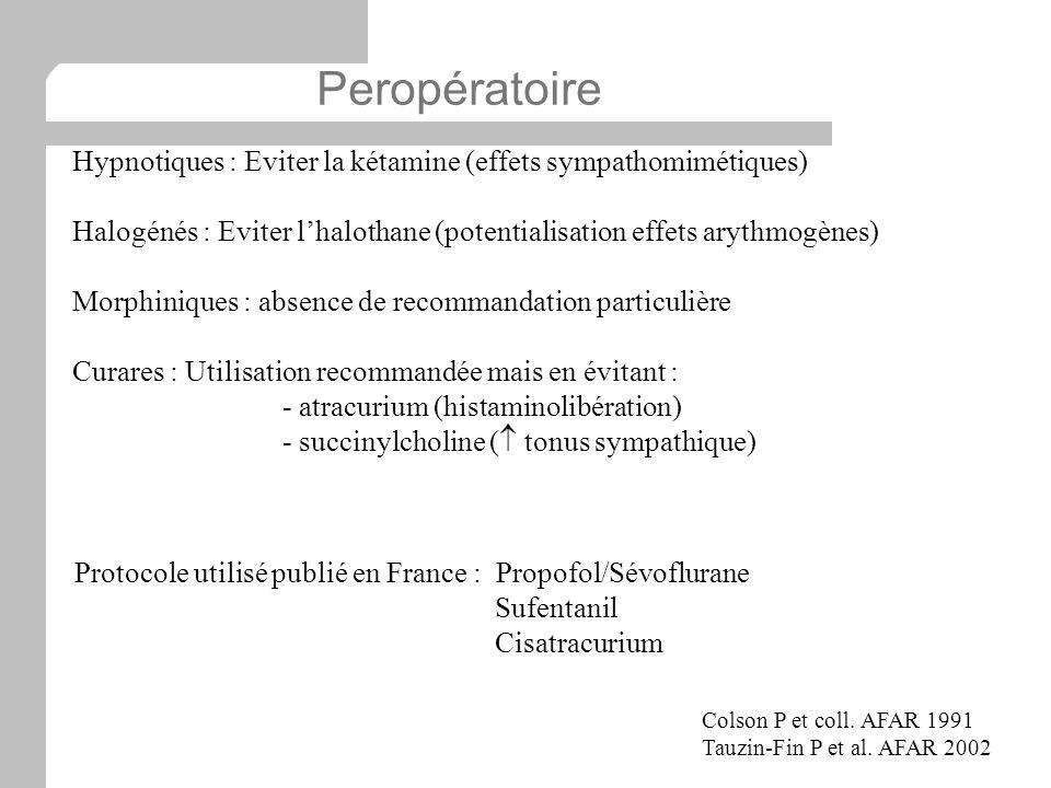 Hypnotiques : Eviter la kétamine (effets sympathomimétiques) Halogénés : Eviter lhalothane (potentialisation effets arythmogènes) Morphiniques : absen