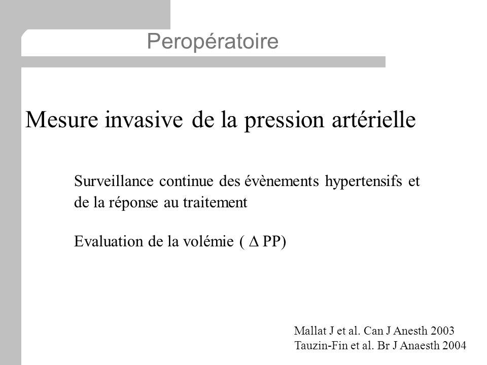 Mesure invasive de la pression artérielle Surveillance continue des évènements hypertensifs et de la réponse au traitement Evaluation de la volémie (