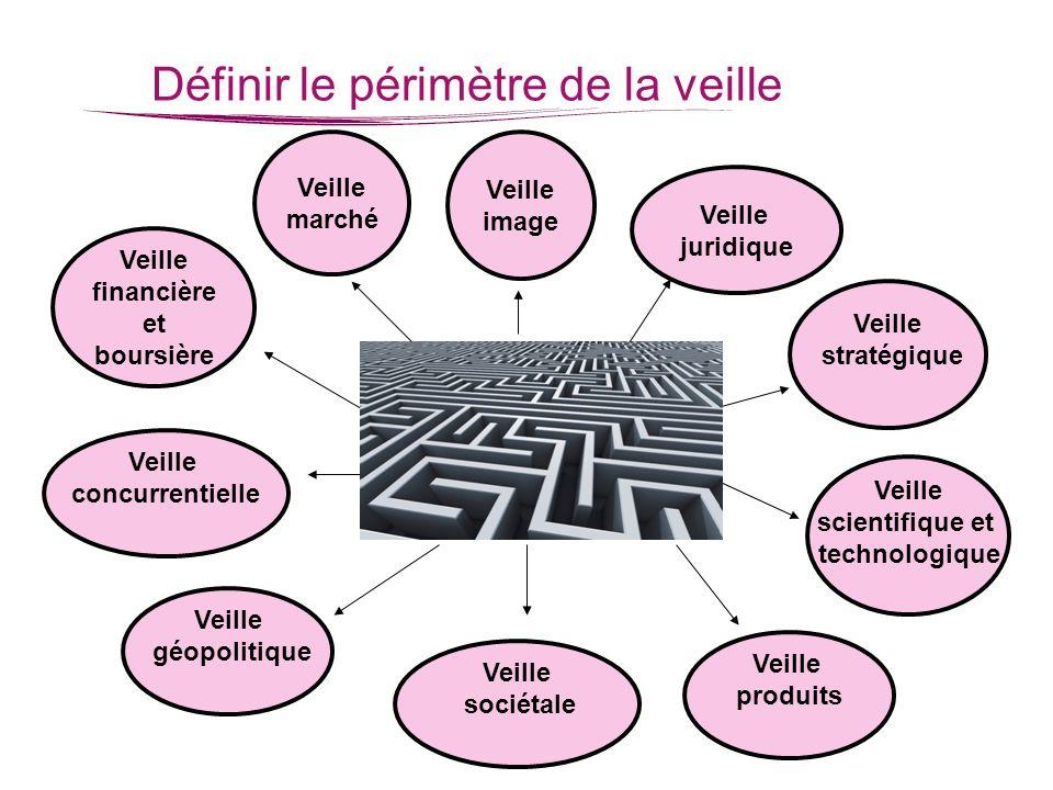 Définir le périmètre de la veille Veille scientifique et technologique Veille produits Veille sociétale Veille géopolitique Veille concurrentielle Vei