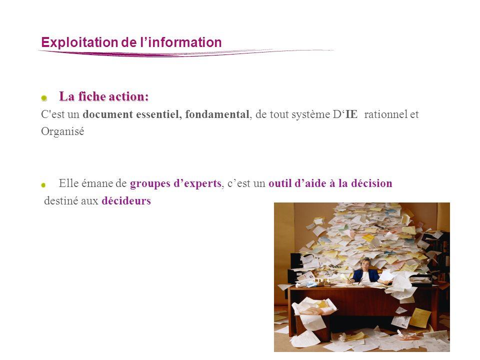 Exploitation de linformation La fiche action: C'est un document essentiel, fondamental, de tout système DIE rationnel et Organisé Elle émane de groupe