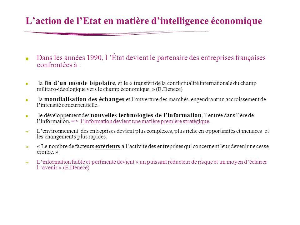 Laction de lEtat en matière dintelligence économique Dans les années 1990, l État devient le partenaire des entreprises françaises confrontées à : la
