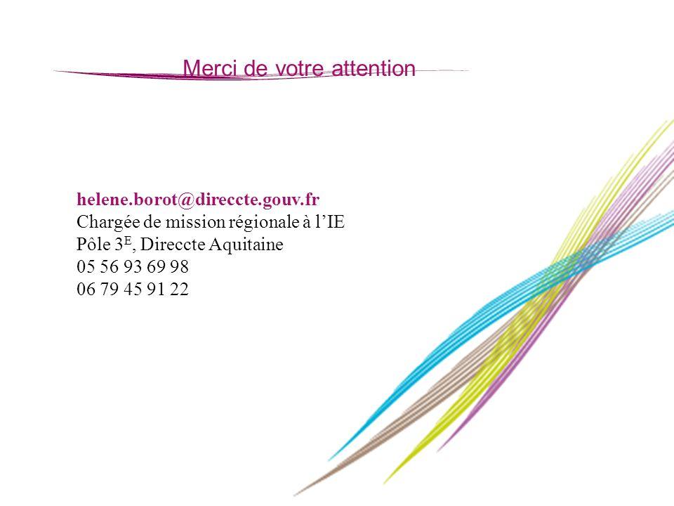 37 Merci de votre attention helene.borot@direccte.gouv.fr Chargée de mission régionale à lIE Pôle 3 E, Direccte Aquitaine 05 56 93 69 98 06 79 45 91 2
