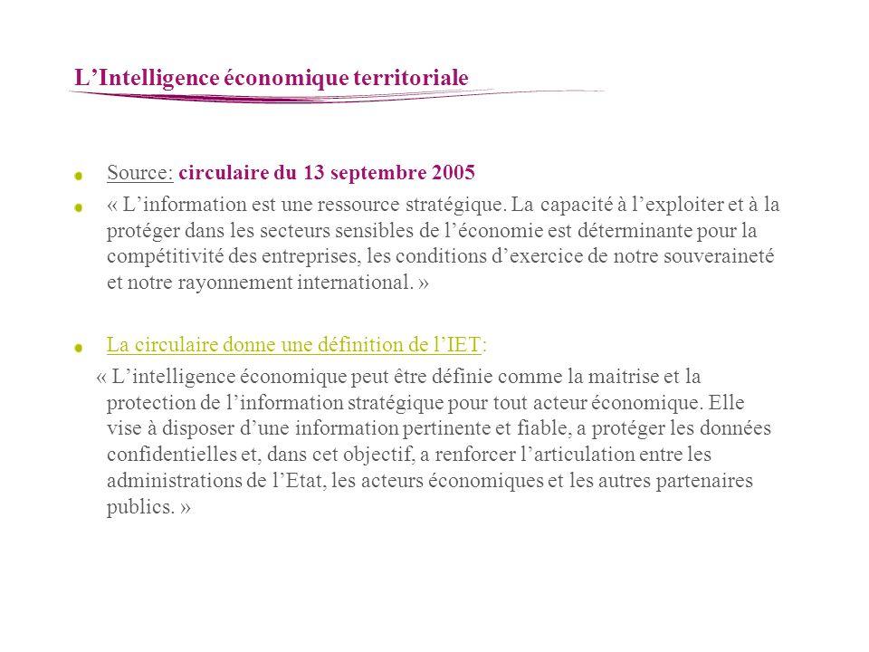 LIntelligence économique territoriale Source: circulaire du 13 septembre 2005 « Linformation est une ressource stratégique. La capacité à lexploiter e