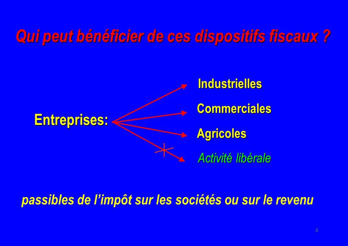 4 Qui peut bénéficier de ces dispositifs fiscaux ? Entreprises: Industrielles Commerciales Commerciales Agricoles Agricoles Activité libérale passible