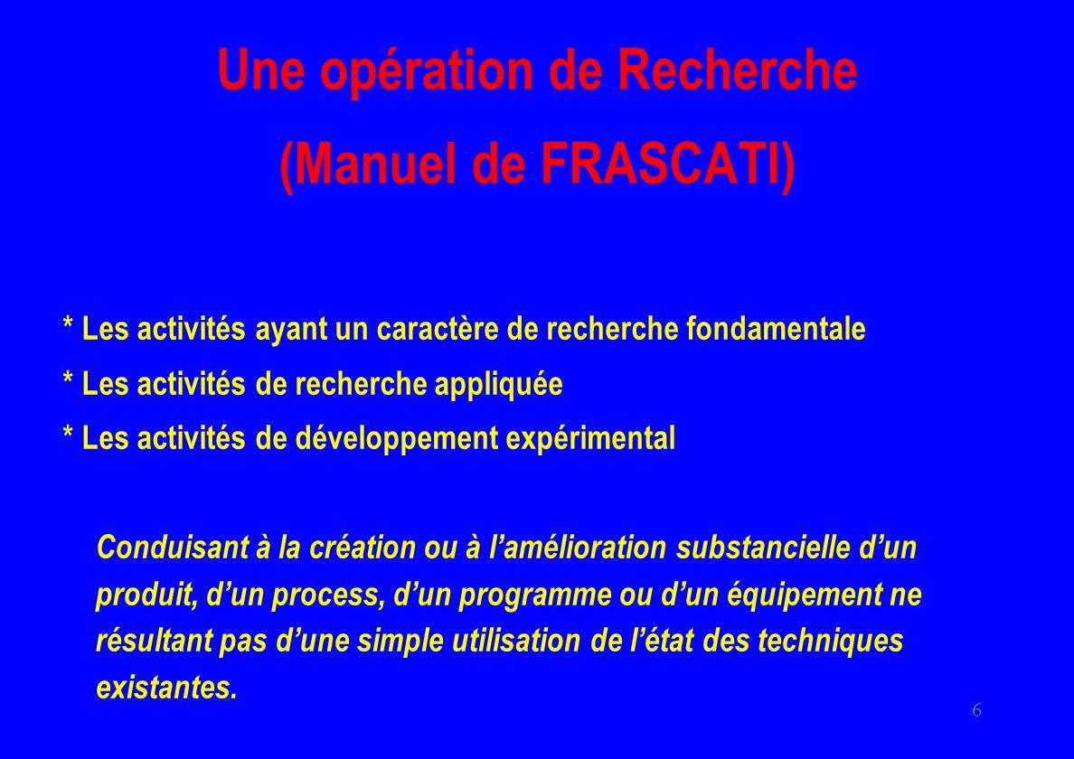 6 Une opération de Recherche (Manuel de FRASCATI) * Les activités ayant un caractère de recherche fondamentale * Les activités de recherche appliquée