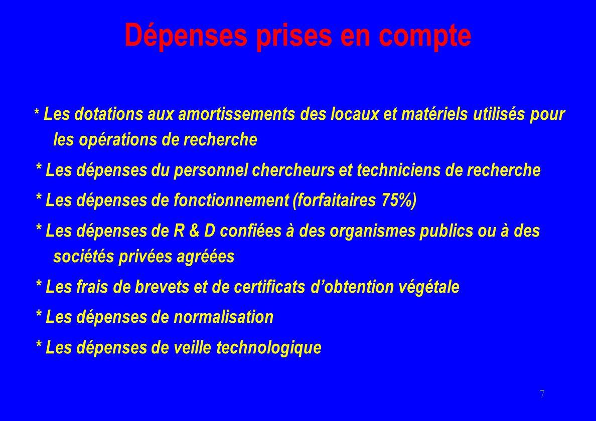 7 Dépenses prises en compte * Les dotations aux amortissements des locaux et matériels utilisés pour les opérations de recherche * Les dépenses du per