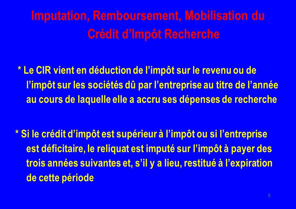 8 Imputation, Remboursement, Mobilisation du Crédit dImpôt Recherche * Le CIR vient en déduction de limpôt sur le revenu ou de limpôt sur les sociétés