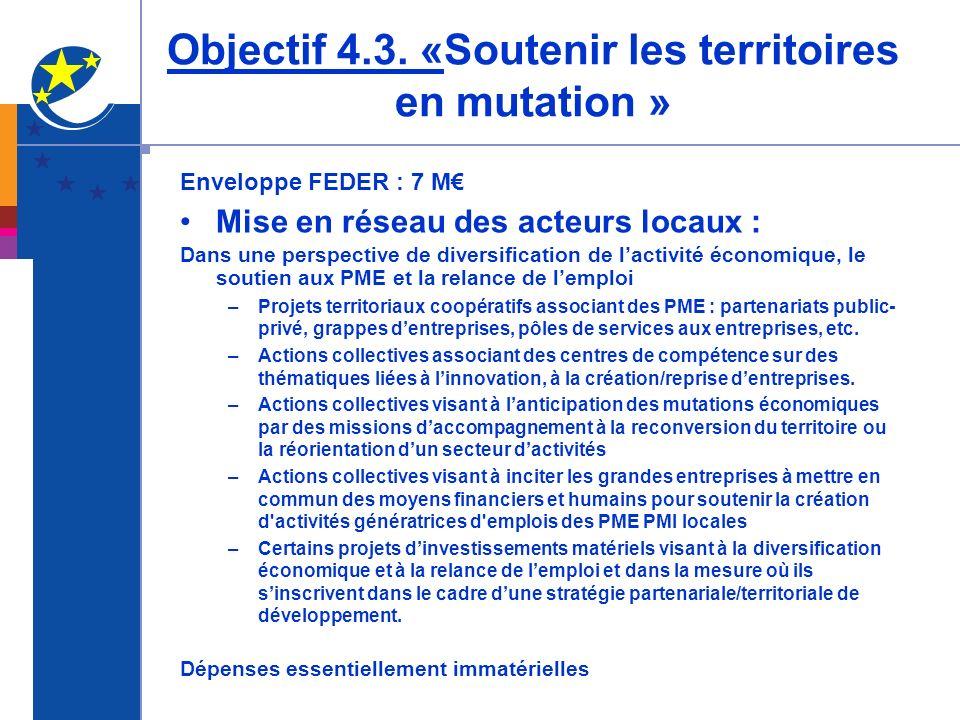 Objectif 4.3. «Soutenir les territoires en mutation » Enveloppe FEDER : 7 M Mise en réseau des acteurs locaux : Dans une perspective de diversificatio