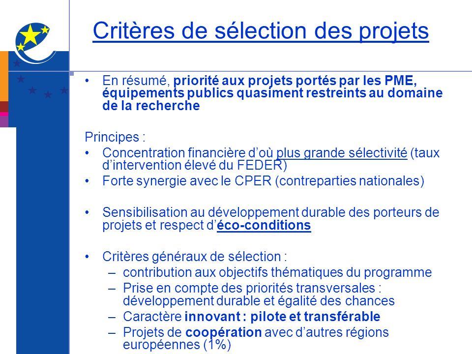 Critères de sélection des projets En résumé, priorité aux projets portés par les PME, équipements publics quasiment restreints au domaine de la recher