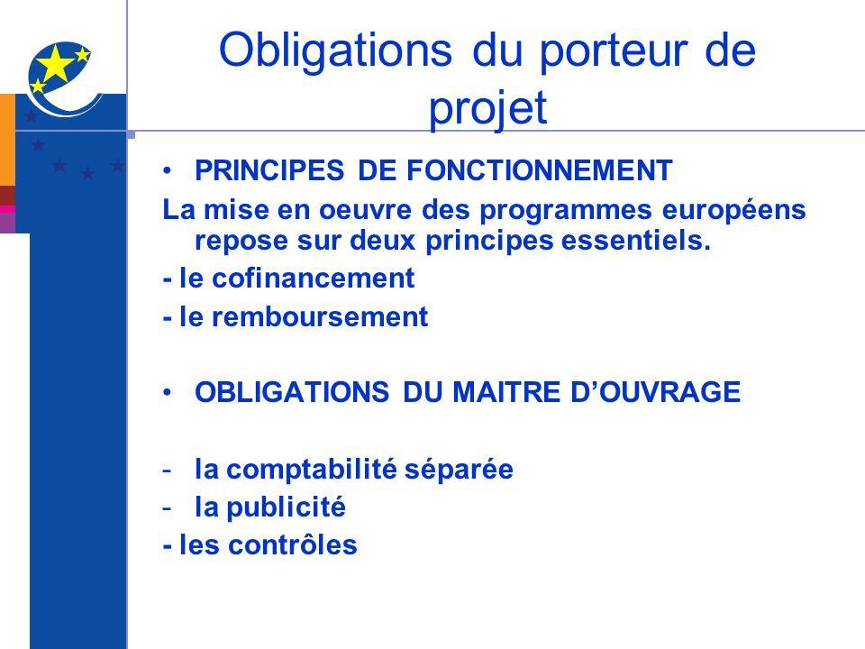 Obligations du porteur de projet PRINCIPES DE FONCTIONNEMENT La mise en oeuvre des programmes européens repose sur deux principes essentiels. - le cof