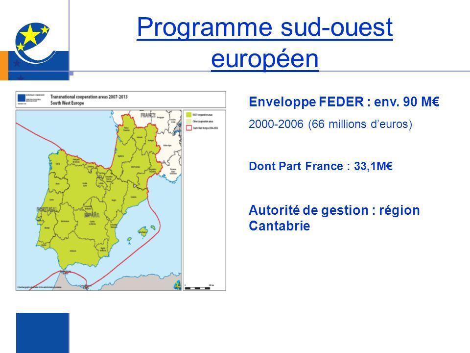 Programme sud-ouest européen Enveloppe FEDER : env. 90 M 2000-2006 (66 millions deuros) Dont Part France : 33,1M Autorité de gestion : région Cantabri