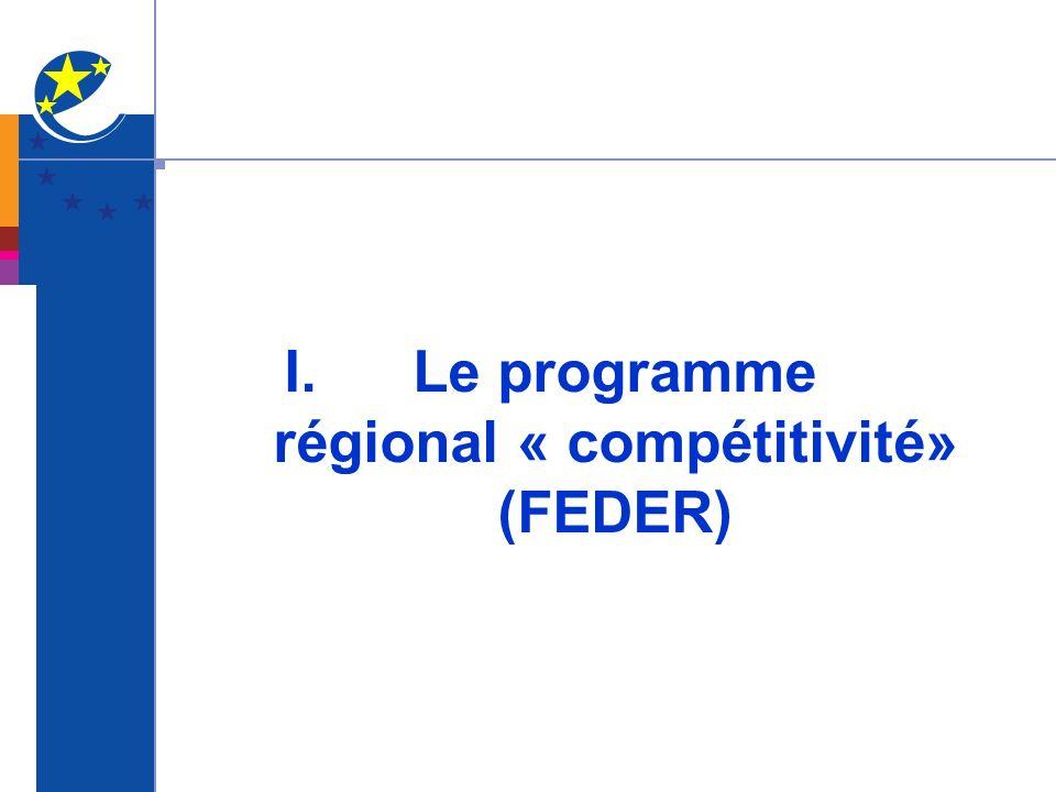 I. Le programme régional « compétitivité» (FEDER)