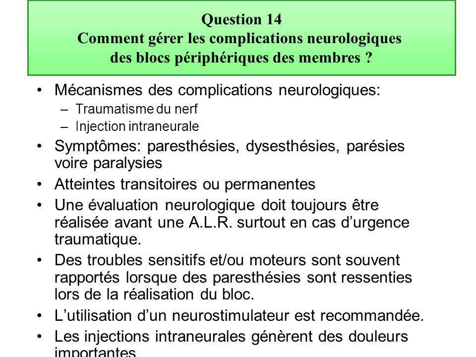 Mécanismes des complications neurologiques: –Traumatisme du nerf –Injection intraneurale Symptômes: paresthésies, dysesthésies, parésies voire paralys