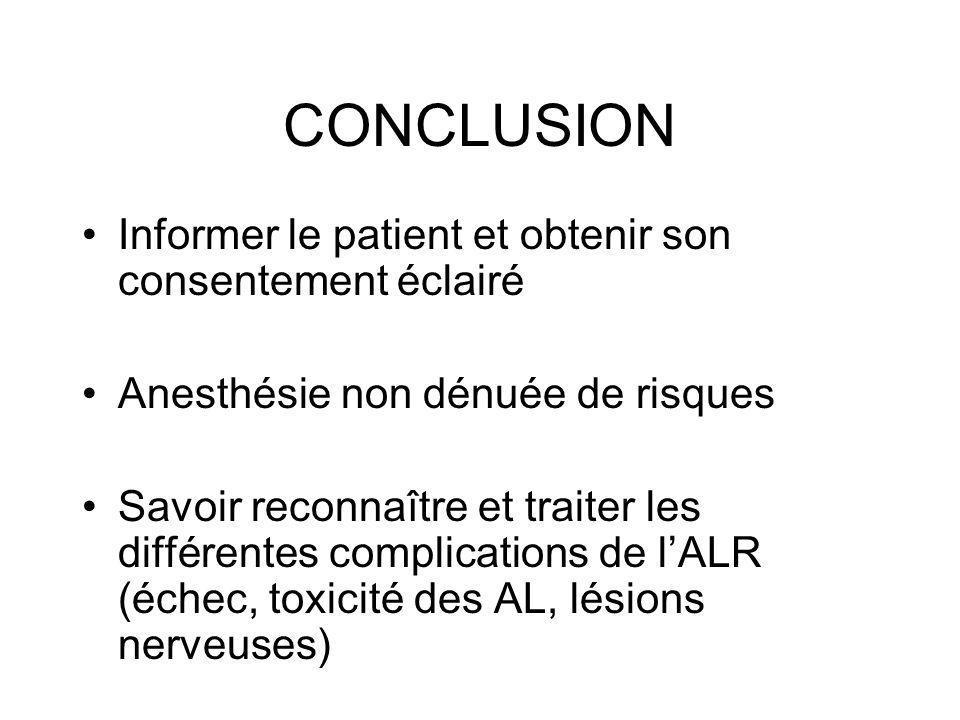 CONCLUSION Informer le patient et obtenir son consentement éclairé Anesthésie non dénuée de risques Savoir reconnaître et traiter les différentes comp