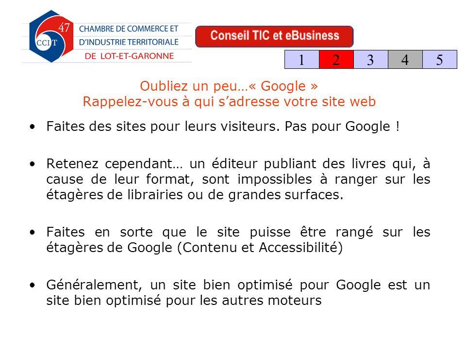 Oubliez un peu…« Google » Rappelez-vous à qui sadresse votre site web Faites des sites pour leurs visiteurs.