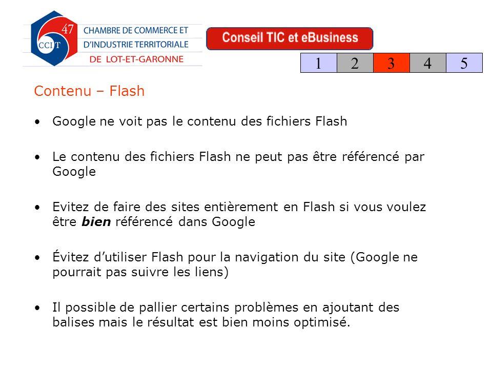 Contenu – Flash Google ne voit pas le contenu des fichiers Flash Le contenu des fichiers Flash ne peut pas être référencé par Google Evitez de faire des sites entièrement en Flash si vous voulez être bien référencé dans Google Évitez dutiliser Flash pour la navigation du site (Google ne pourrait pas suivre les liens) Il possible de pallier certains problèmes en ajoutant des balises mais le résultat est bien moins optimisé.