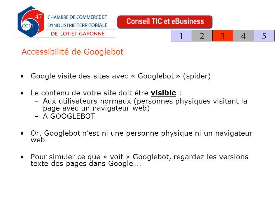 Accessibilité de Googlebot Google visite des sites avec « Googlebot » (spider) Le contenu de votre site doit être visible : –Aux utilisateurs normaux (personnes physiques visitant la page avec un navigateur web) –A GOOGLEBOT Or, Googlebot nest ni une personne physique ni un navigateur web Pour simuler ce que « voit » Googlebot, regardez les versions texte des pages dans Google….
