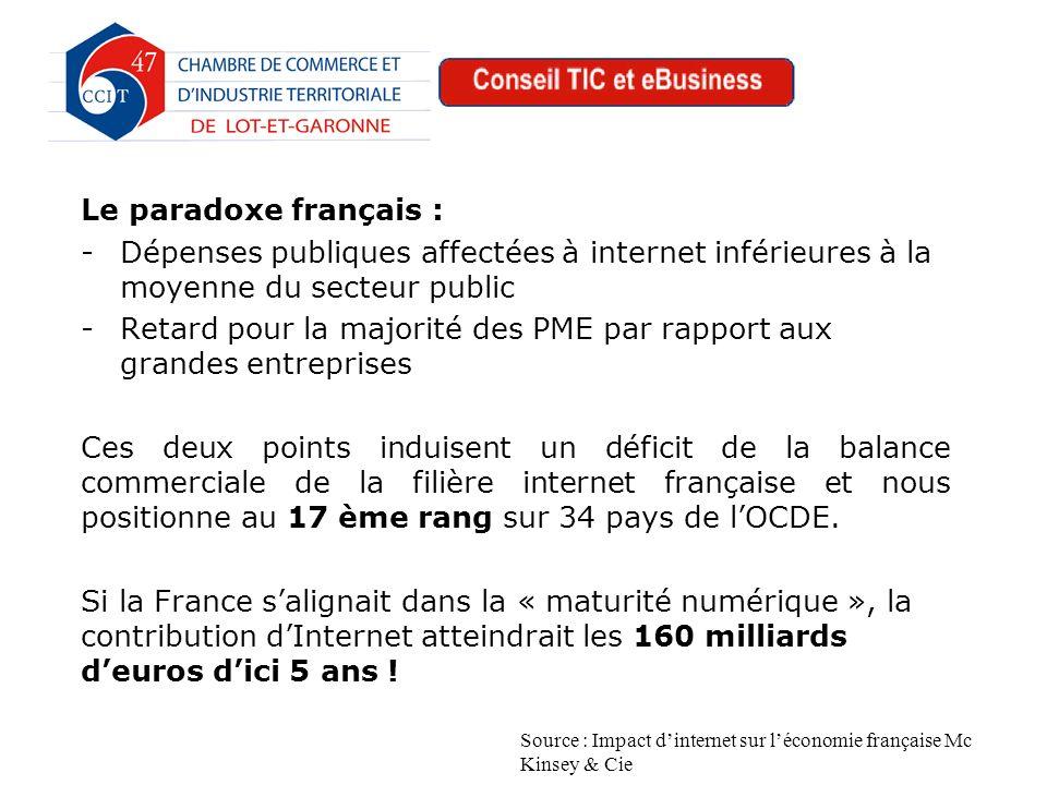 Le paradoxe français : -Dépenses publiques affectées à internet inférieures à la moyenne du secteur public -Retard pour la majorité des PME par rapport aux grandes entreprises Ces deux points induisent un déficit de la balance commerciale de la filière internet française et nous positionne au 17 ème rang sur 34 pays de lOCDE.