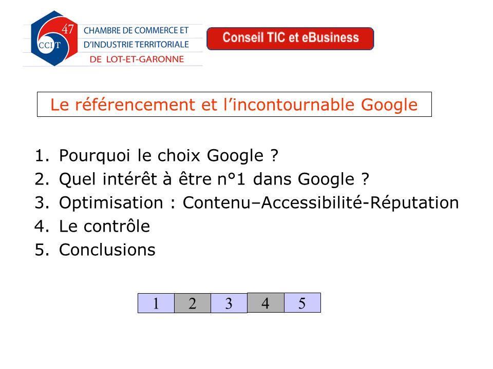 1.Pourquoi le choix Google . 2.Quel intérêt à être n°1 dans Google .