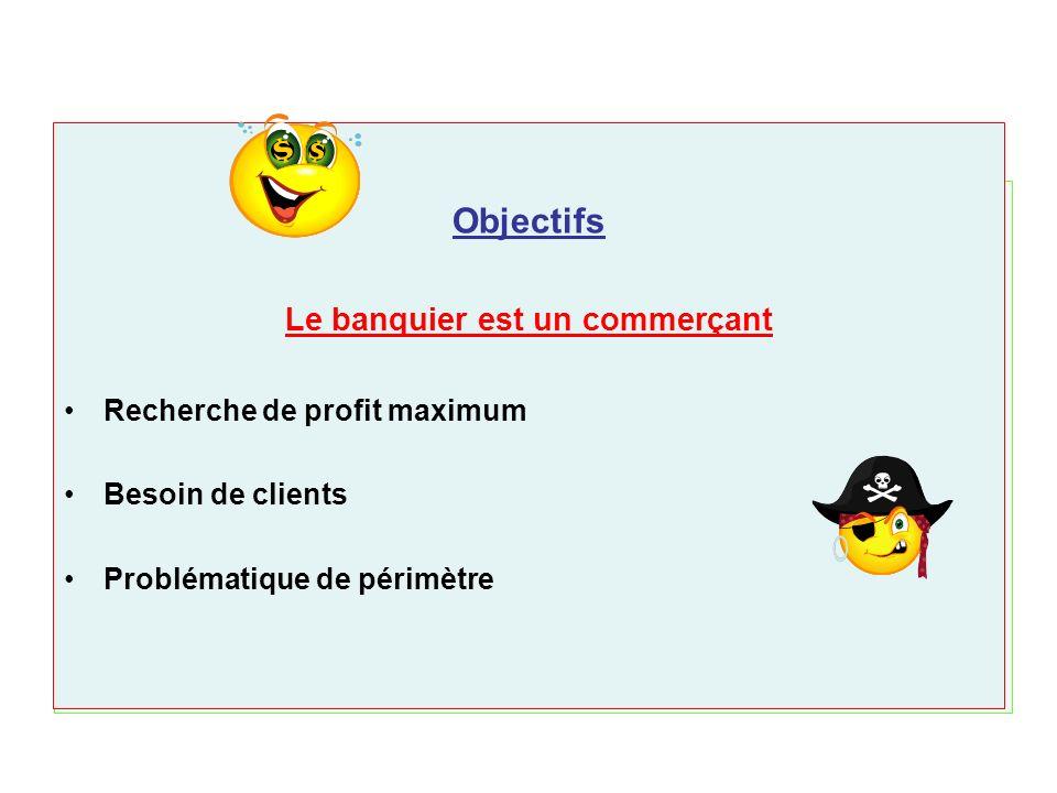 Objectifs Le banquier est un commerçant Recherche de profit maximum Besoin de clients Problématique de périmètre