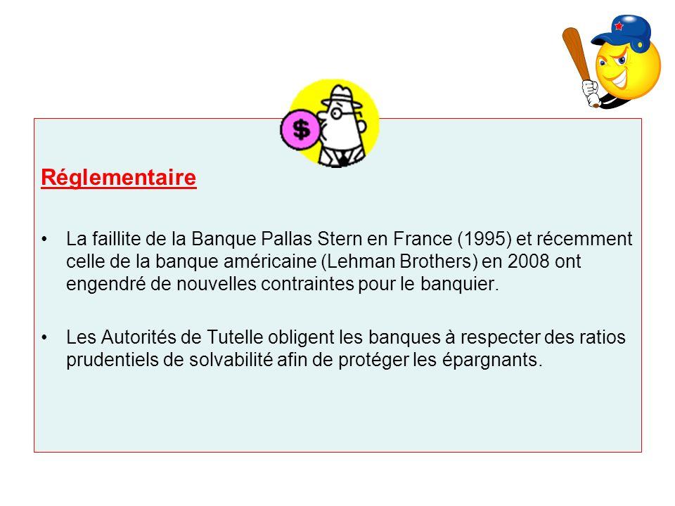 Réglementaire La faillite de la Banque Pallas Stern en France (1995) et récemment celle de la banque américaine (Lehman Brothers) en 2008 ont engendré