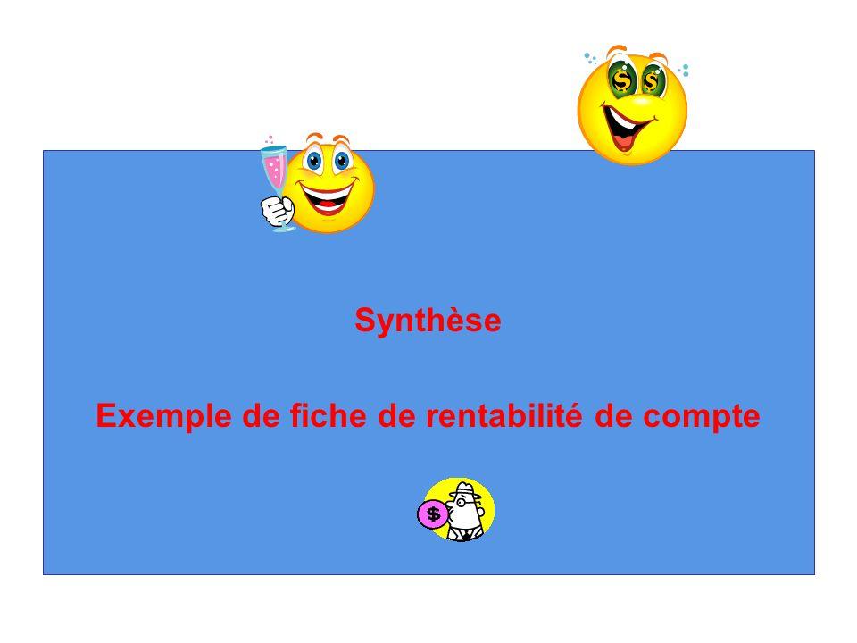 Synthèse Exemple de fiche de rentabilité de compte