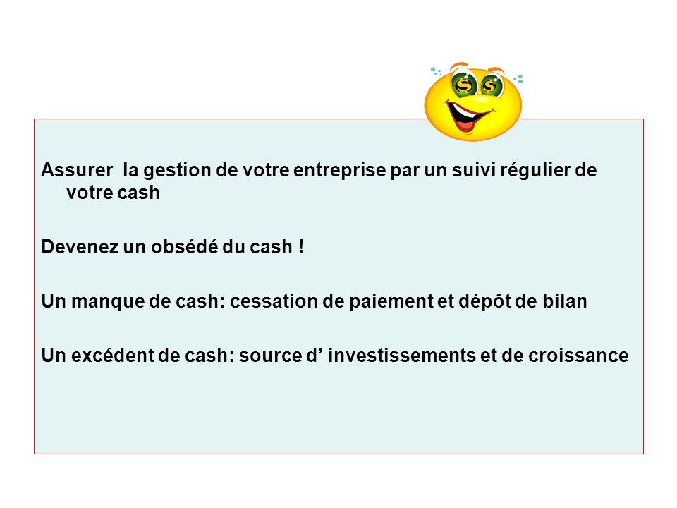Assurer la gestion de votre entreprise par un suivi régulier de votre cash Devenez un obsédé du cash ! Un manque de cash: cessation de paiement et dép