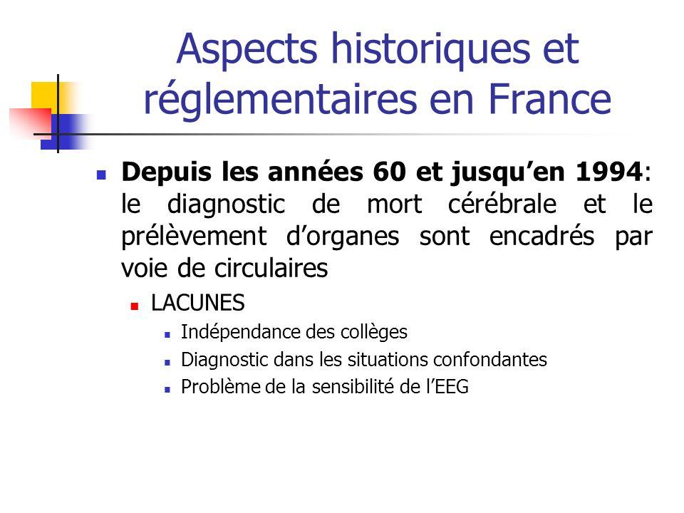 Aspects historiques et réglementaires en France Depuis les années 60 et jusquen 1994: le diagnostic de mort cérébrale et le prélèvement dorganes sont encadrés par voie de circulaires LACUNES Indépendance des collèges Diagnostic dans les situations confondantes Problème de la sensibilité de lEEG