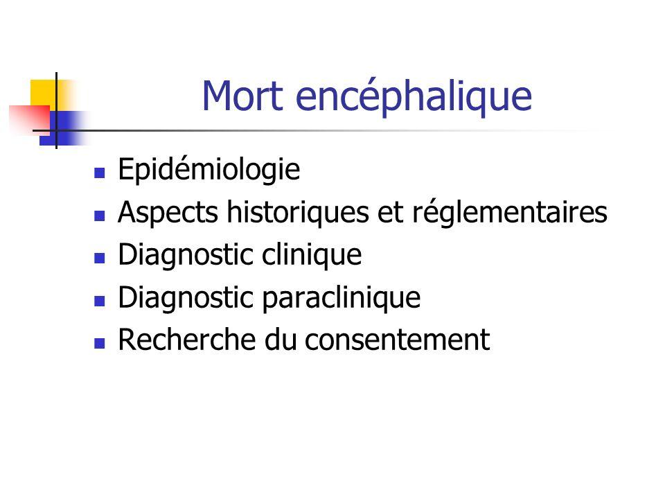 Mort encéphalique Epidémiologie Aspects historiques et réglementaires Diagnostic clinique Diagnostic paraclinique Recherche du consentement
