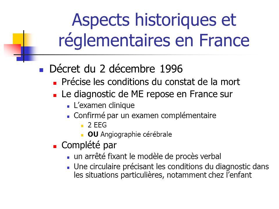 Aspects historiques et réglementaires en France Décret du 2 décembre 1996 Précise les conditions du constat de la mort Le diagnostic de ME repose en F