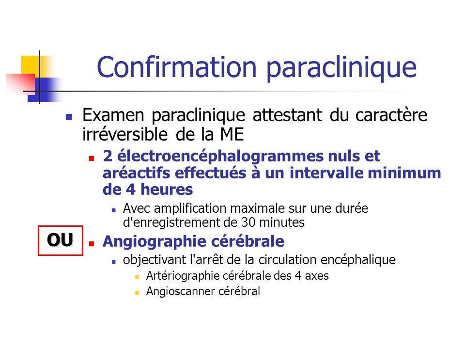 Confirmation paraclinique Examen paraclinique attestant du caractère irréversible de la ME 2 électroencéphalogrammes nuls et aréactifs effectués à un
