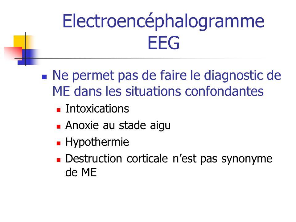 Electroencéphalogramme EEG Ne permet pas de faire le diagnostic de ME dans les situations confondantes Intoxications Anoxie au stade aigu Hypothermie Destruction corticale nest pas synonyme de ME