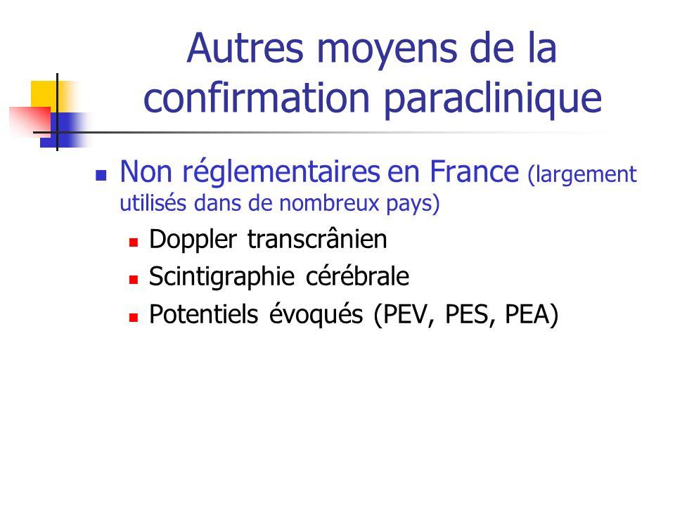 Autres moyens de la confirmation paraclinique Non réglementaires en France (largement utilisés dans de nombreux pays) Doppler transcrânien Scintigraphie cérébrale Potentiels évoqués (PEV, PES, PEA)