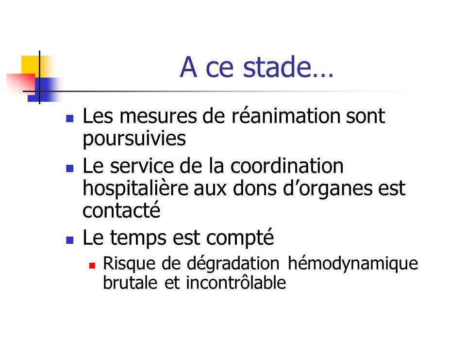 A ce stade… Les mesures de réanimation sont poursuivies Le service de la coordination hospitalière aux dons dorganes est contacté Le temps est compté Risque de dégradation hémodynamique brutale et incontrôlable
