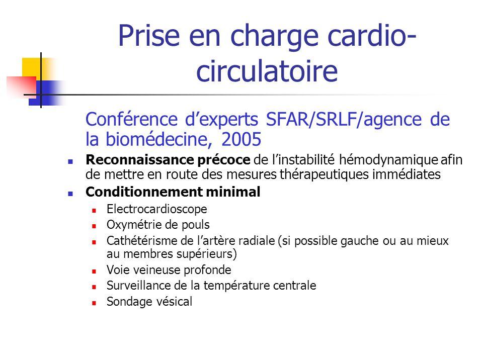 Prise en charge cardio- circulatoire Conférence dexperts SFAR/SRLF/agence de la biomédecine, 2005 Reconnaissance précoce de linstabilité hémodynamique