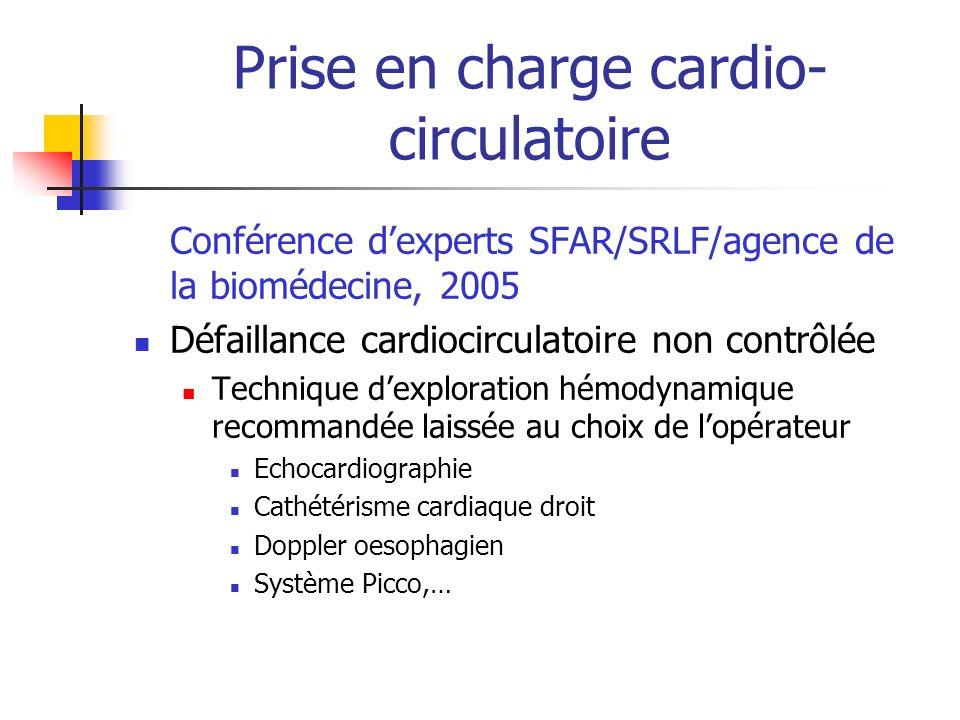 Prise en charge cardio- circulatoire Conférence dexperts SFAR/SRLF/agence de la biomédecine, 2005 Défaillance cardiocirculatoire non contrôlée Technique dexploration hémodynamique recommandée laissée au choix de lopérateur Echocardiographie Cathétérisme cardiaque droit Doppler oesophagien Système Picco,…
