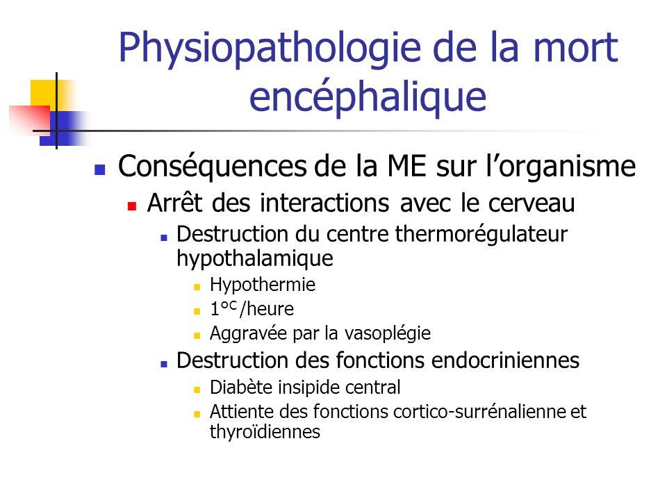 Physiopathologie de la mort encéphalique Conséquences de la ME sur lorganisme Arrêt des interactions avec le cerveau Destruction du centre thermorégul