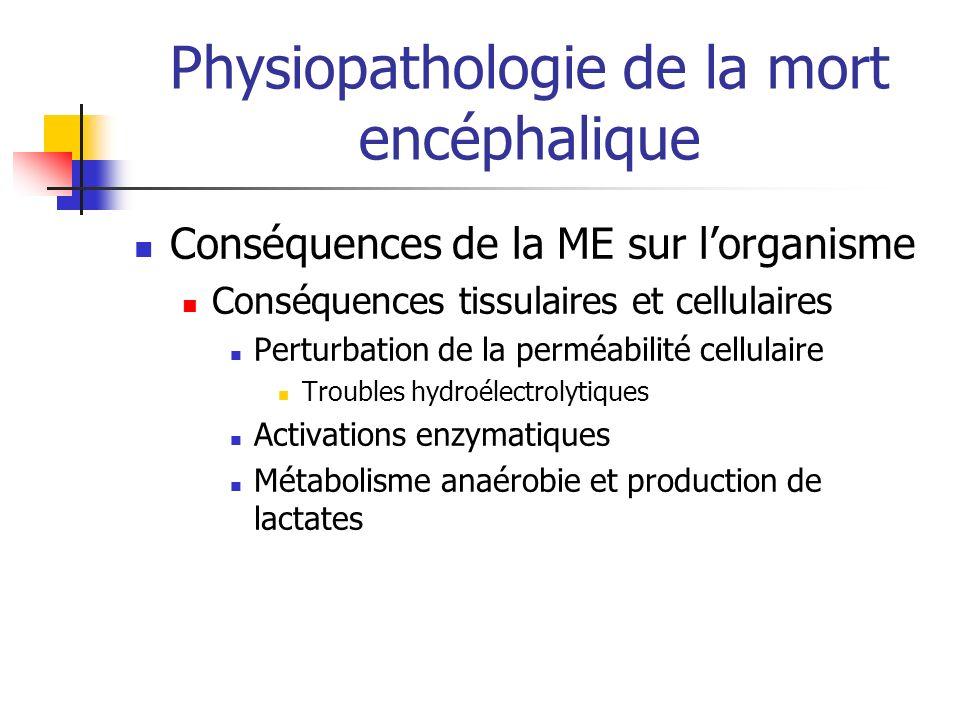 Physiopathologie de la mort encéphalique Conséquences de la ME sur lorganisme Conséquences tissulaires et cellulaires Perturbation de la perméabilité