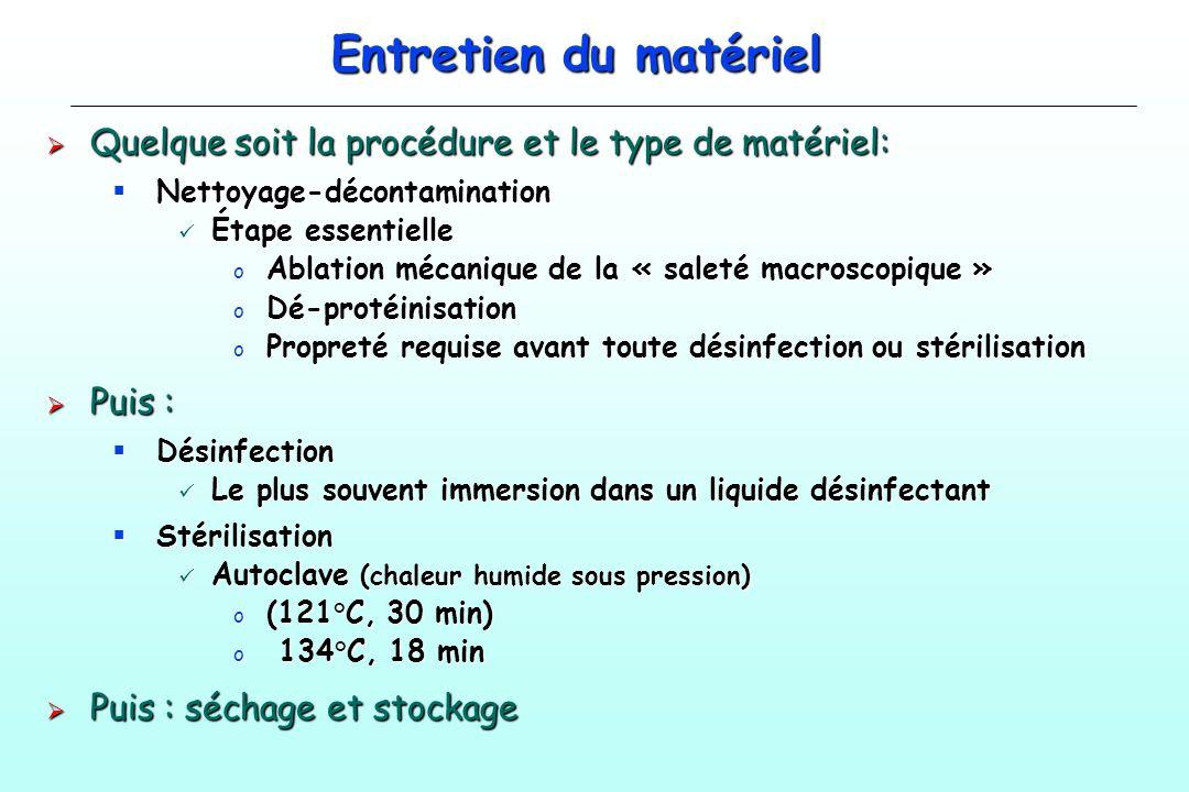 Entretien du matériel Quelque soit la procédure et le type de matériel: Quelque soit la procédure et le type de matériel: Nettoyage-décontamination Ne