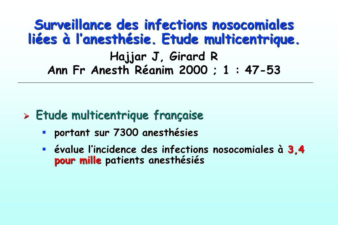 Surveillance des infections nosocomiales liées à lanesthésie. Etude multicentrique. Hajjar J, Girard R Ann Fr Anesth Réanim 2000 ; 1 : 47-53 Etude mul