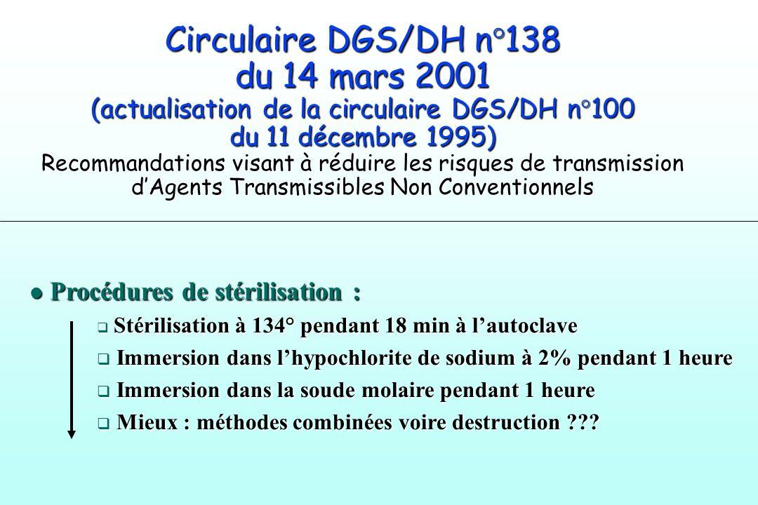 Circulaire DGS/DH n°138 du 14 mars 2001 (actualisation de la circulaire DGS/DH n°100 du 11 décembre 1995) Recommandations visant à réduire les risques