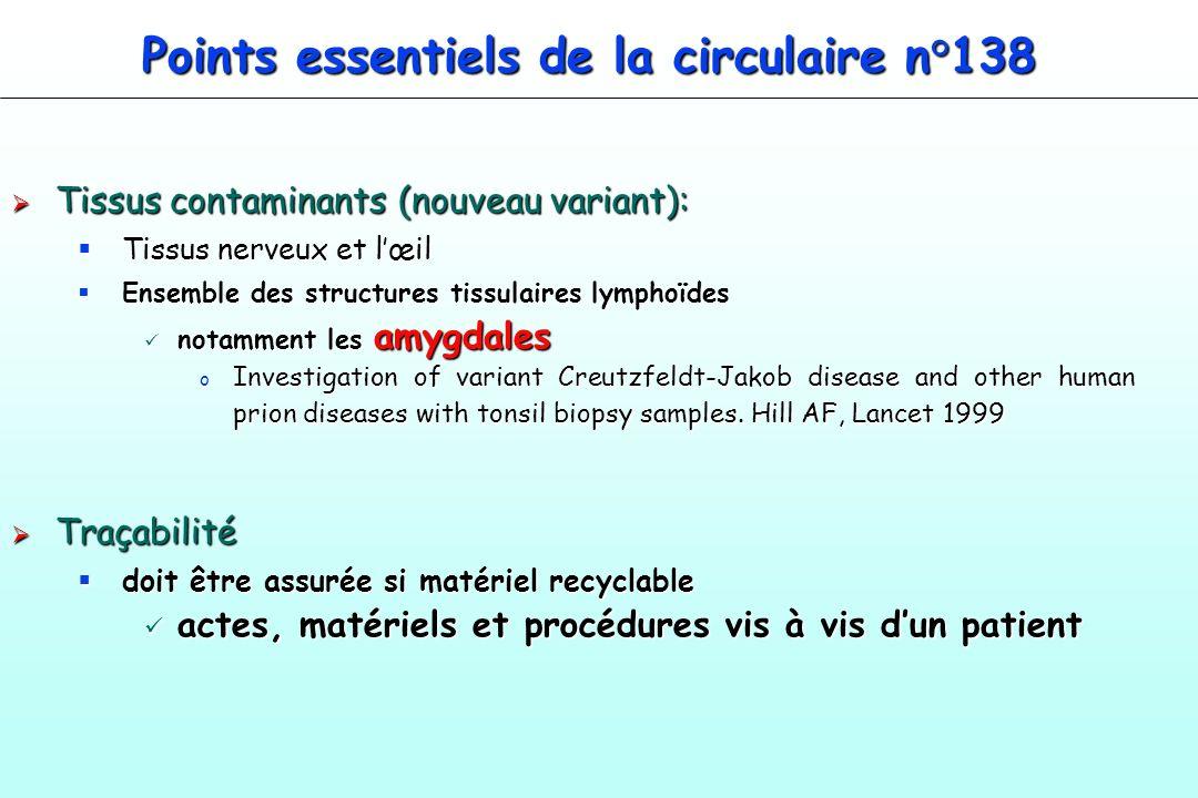 Points essentiels de la circulaire n°138 Tissus contaminants (nouveau variant): Tissus contaminants (nouveau variant): Tissus nerveux et lœil Tissus n