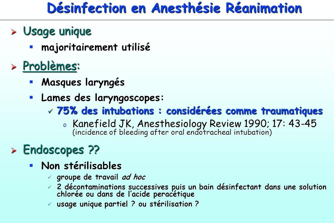 Désinfection en Anesthésie Réanimation Usage unique Usage unique majoritairement utilisé majoritairement utilisé Problèmes: Problèmes: Masques laryngé