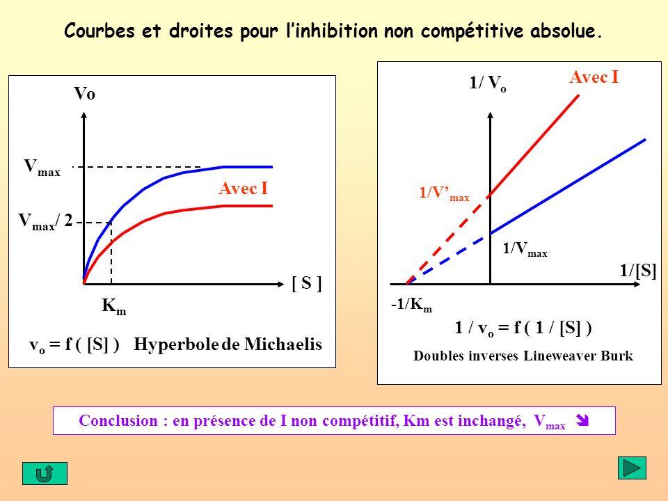 Courbes et droites pour linhibition non compétitive absolue. v o = f ( [S] ) Hyperbole de Michaelis Avec I V max V max / 2 KmKm [ S ] Vo 1 / v o = f (