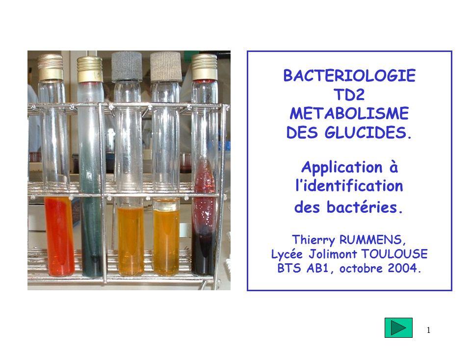 1 BACTERIOLOGIE TD2 METABOLISME DES GLUCIDES. Application à lidentification des bactéries. Thierry RUMMENS, Lycée Jolimont TOULOUSE BTS AB1, octobre 2